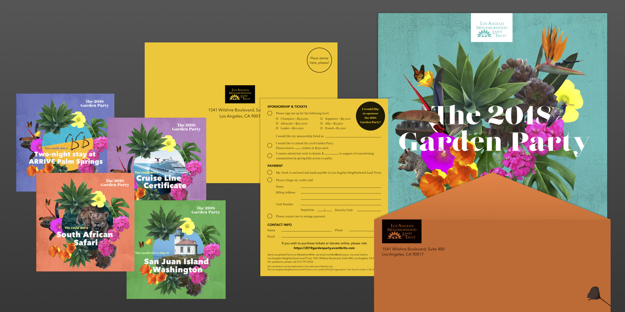 LA Neighborhood Land Trust 2018 Garden Party invitation and envelopes